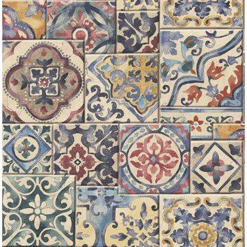 Picture of Estrada Multicolor Marrakesh Tiles Wallpaper