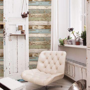 Picture of Levi Green Scrap Wood Wallpaper