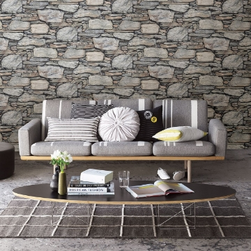 Picture of Cesar Grey Stone Wall Wallpaper