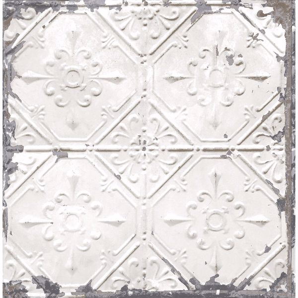 Picture of Donahue White Tin Ceiling Wallpaper