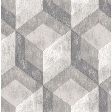 Picture of Clarabelle Grey Rustic Wood Tile Wallpaper