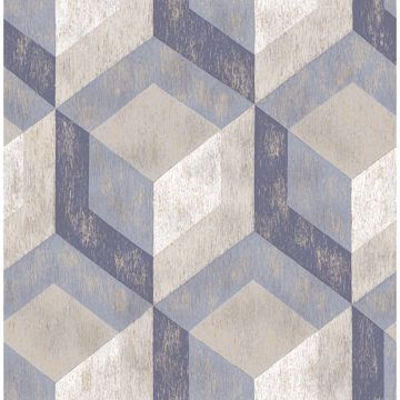 Picture of Clarabelle Blue Rustic Wood Tile Wallpaper