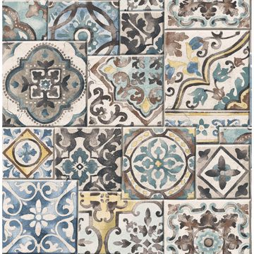 Picture of Estrada Blue Marrakesh Tiles Wallpaper