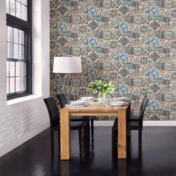 Picture of Estrada Blue Marrakesh Tiles Wallpaper