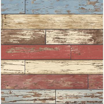 Picture of Levi Multicolor Scrap Wood Wallpaper