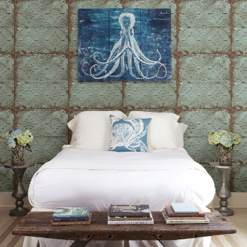 Picture of Donahue Turquoise Tin Ceiling Wallpaper