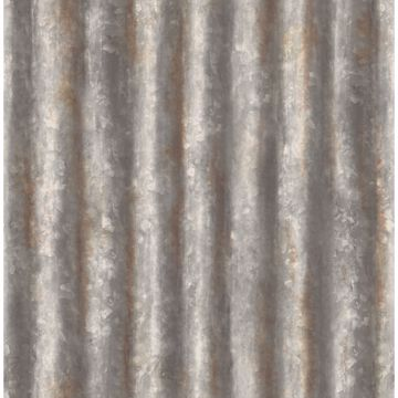 Picture of Kirkland Charcoal Corrugated Metal Wallpaper