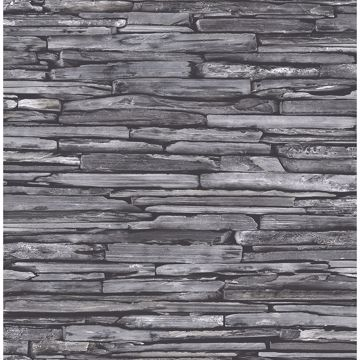Picture of McGuire Grey Stacked Slate Wallpaper