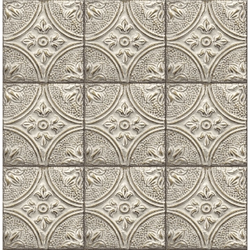 Picture of Cornelius Grey Tin Ceiling Tile Wallpaper