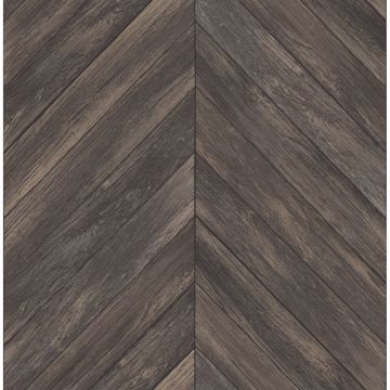 Picture of Parisian Dark Brown Parquet Wallpaper