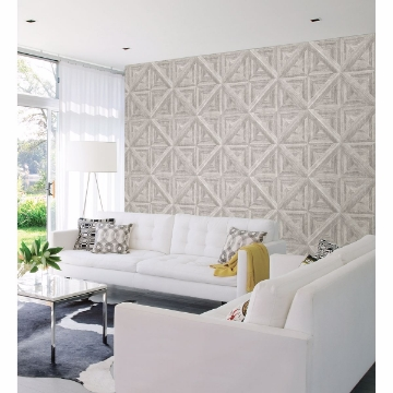 Picture of Carriage House White Geometric Wood Wallpaper
