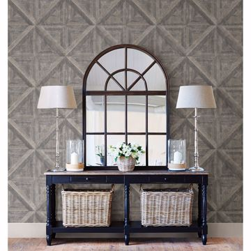 Picture of Carriage House Taupe Geometric Wood Wallpaper