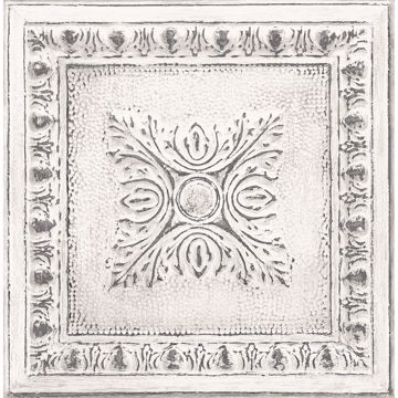 Picture of Hillman White Ornamental Tin Tile Wallpaper