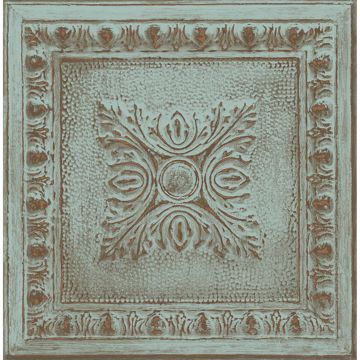 Picture of Hillman Turquoise Ornamental Tin Tile Wallpaper