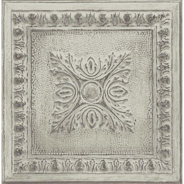 Picture of Hillman Light Green Ornamental Tin Tile Wallpaper