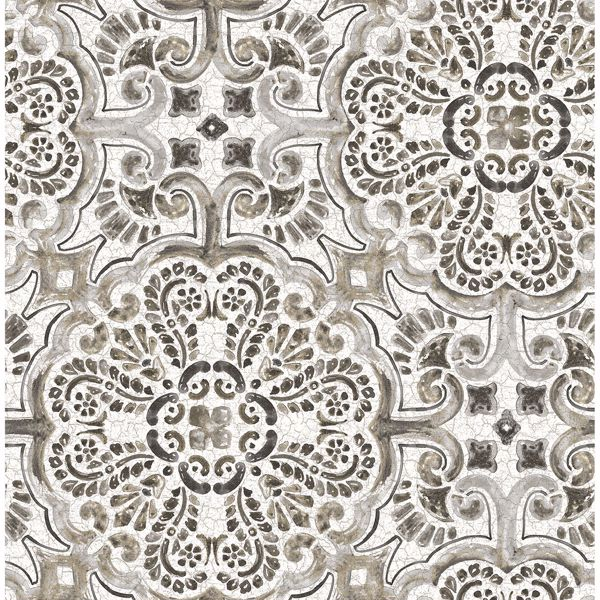 Picture of Florentine Grey Faux Tile Wallpaper