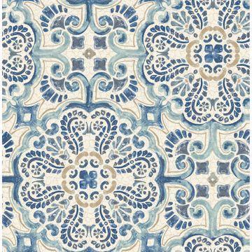 Picture of Florentine Blue Faux Tile Wallpaper