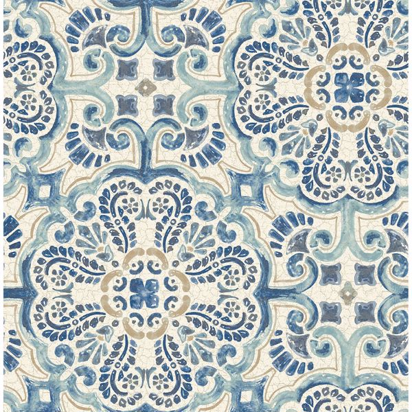 Picture of Florentine Blue Faux Tile Wallpaper