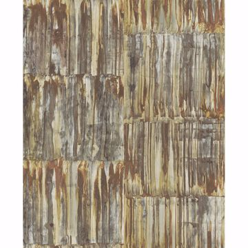 Picture of Patina Brass Faux Metal Panels Wallpaper