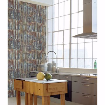 Picture of Chavez Multicolor Faux Metal Panels Wallpaper