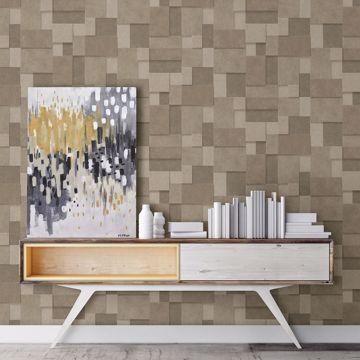 Picture of Duchamp Gold Metallic Squares Wallpaper