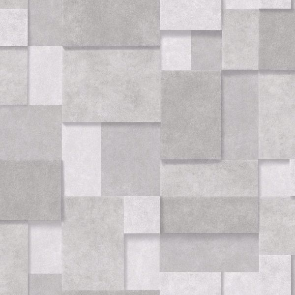 Picture of Duchamp Silver Metallic Squares Wallpaper
