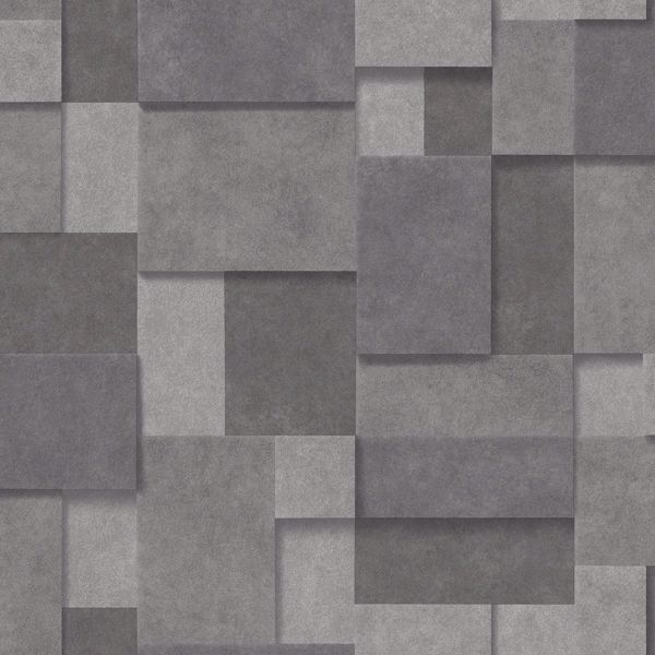 Picture of Duchamp Dark Grey Metallic Squares Wallpaper