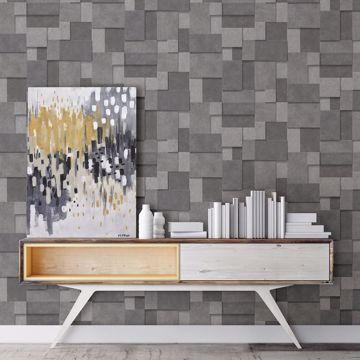 Picture of Duchamp Dark Grey Metallic Squares Wallpaper
