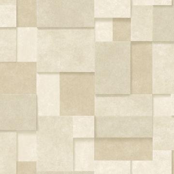 Picture of Duchamp Wheat Metallic Squares Wallpaper