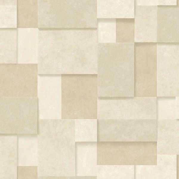 Picture of Duchamp Wheat Metallic Squares Wallpaper