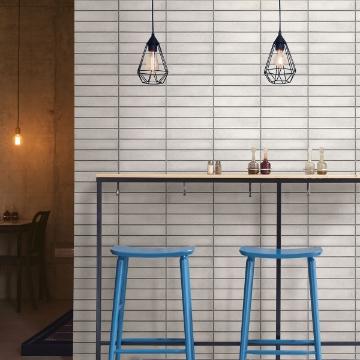 Picture of Midcentury Light Grey Modern Bricks Wallpaper