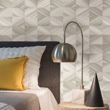 Picture of Stratum Taupe Geometric Wood Wallpaper