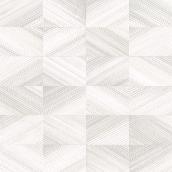 Picture of Stratum White Geometric Wood Wallpaper