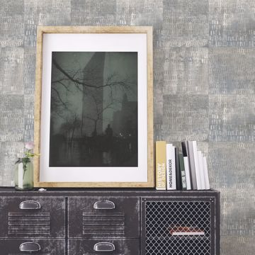 Picture of Conundrum Blue Faux Metal Wallpaper