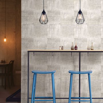 Picture of Conundrum Silver Faux Metal Wallpaper