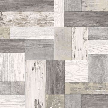 Picture of Knock on Wood Neutral Distressed Wallpaper