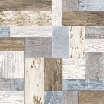 Picture of Knock on Wood Multicolor Distressed Wallpaper