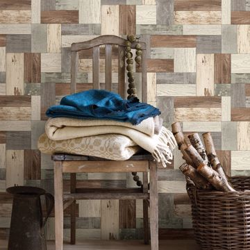 Picture of Knock on Wood Light Blue Distressed Wallpaper