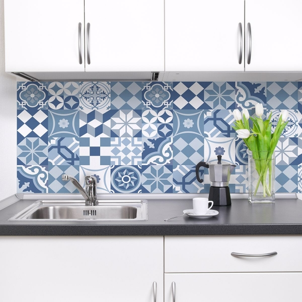 Picture of Blue Cementine Peel and Stick Backsplash
