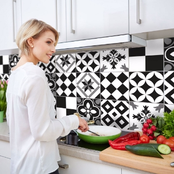 Picture of Black and White Azulejos Peel and Stick Backsplash