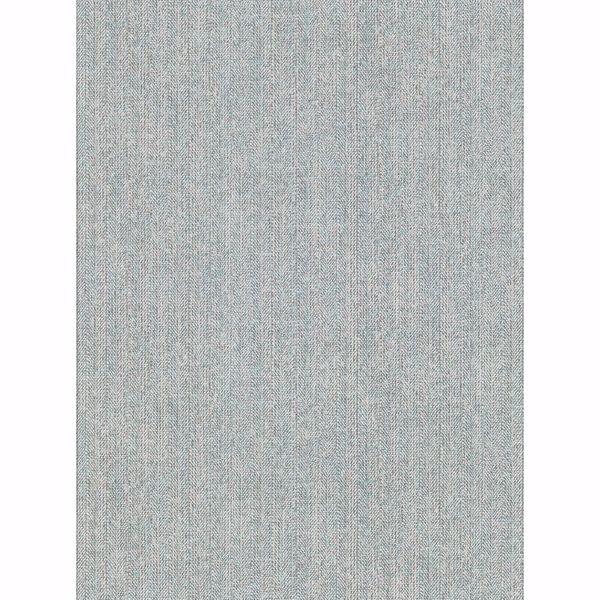 Picture of Holden Aqua Chevron Faux Linen Wallpaper