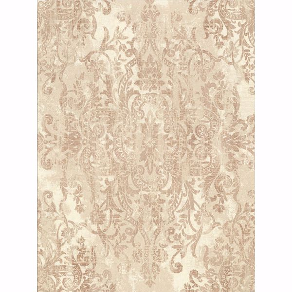 Picture of Shirley Cream Distressed Damask Wallpaper