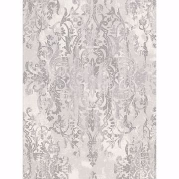 Picture of Shirley Grey Distressed Damask Wallpaper