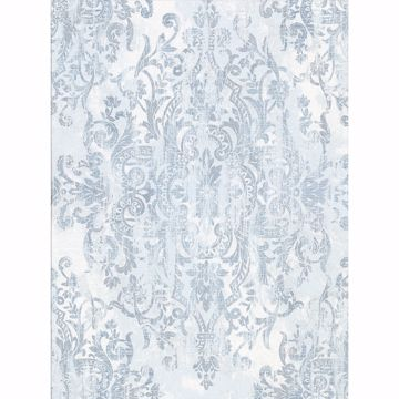 Picture of Shirley Slate Distressed Damask Wallpaper