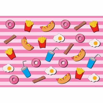 Picture of Fast Food Kitchen Pink Non Woven Wall Mural