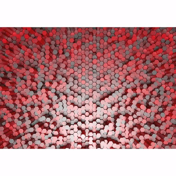 Picture of Red 3D Pentagons Non Woven Wall Mural