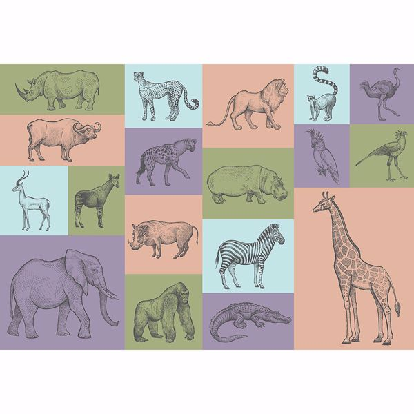 Picture of Animal Illustrations Non Woven Wall Mural
