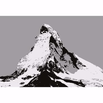 Picture of Matterhorn Illustration Black And White Non Woven Wall Mural