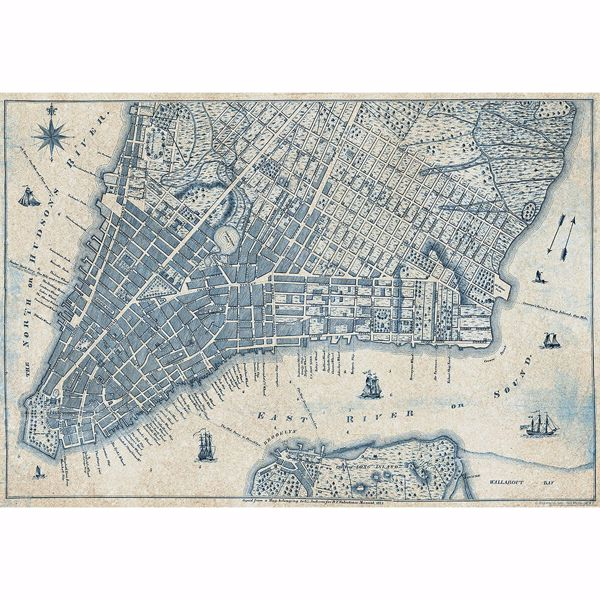 Picture of Old Vintage City Map New York Non Woven Wall Mural