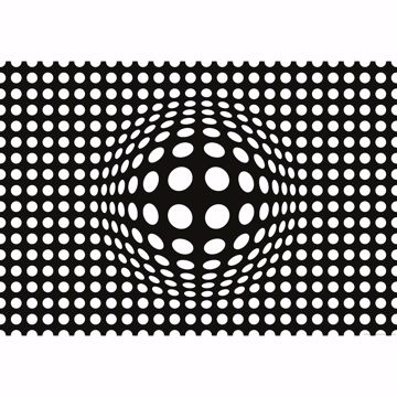 Picture of Inverted Black and White 3D Dots Wall Mural